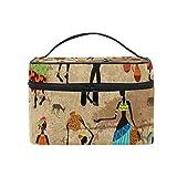 IMOBABY Retro Girl Africa Makeup Organizer Bag Large Storage Capacity Cosmetic Bags Make Up Cases