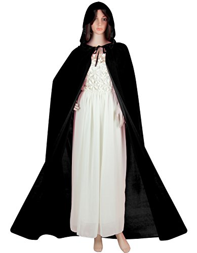 Acediscoball Women's Velvet Cape with Hood Halloween Witch Costume Cloak,Black,One Size -