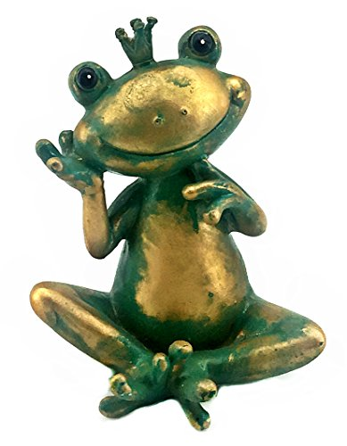 Bellaa 22373 Prince Frog Statues Happy Garden Outdoor Patio - Prince Statue Frog
