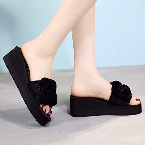 Verano Moda Chanclas Cuñas De Toe Antideslizantes Clip Zapatillas Negro Casual Mujeres Playa qExSOwdq