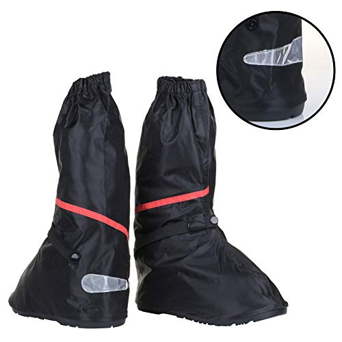 Waterproof Anti Slip Motorcycle Boots Cover for Men Size 7-8 Women 8.5-9.5 with Sturdy Zipper Elastic Bands Reflective Heels and Red Line - Suitable for Cycling Bike Riding - Black (Rain Boots Motorcycle)
