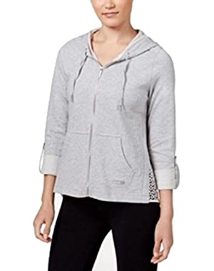 Calvin Klein Performance Lace Trim Zip Jacket M, Heather/White