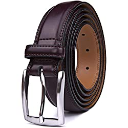Mens Belts Red, 32MM Casual Belt with Pin Buckle (34, Wine Red)
