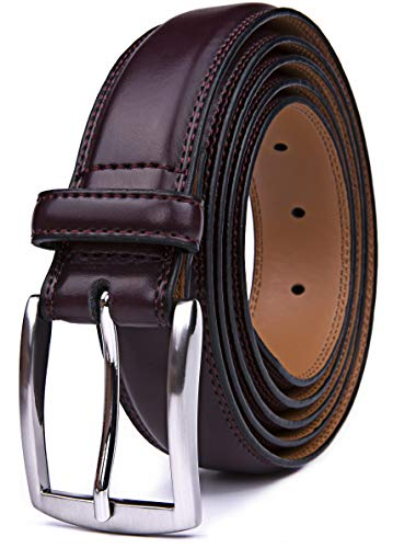 Mens Belts Red, 32MM Casual Belt with Pin Buckle (34, Wine Red) (Belt Wine)