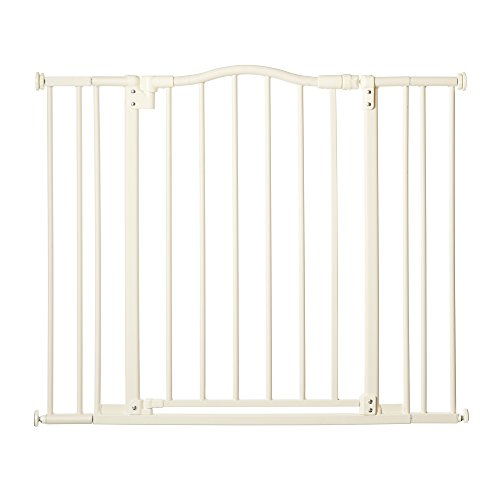 'Arched Auto-Close Gate with Easy-Step' by North States: Extra-low threshold bar reduces trip hazards when stepping through. Pressure mount. Fits openings 28.5' to 38.25' wide (30' tall, White)