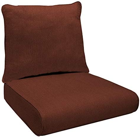 Honeycomb Indoor/Outdoor Sunbrella Xena Brick Deep Seat Chair Cushion Set: Recycled Polyester Fill