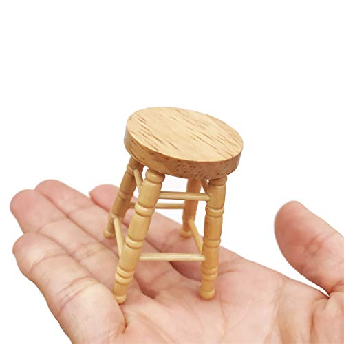 Icocol Mini Doll House Furniture 1/12 Miniature High Stool Wooden Color Living Room Toy Gifts for Kids Children