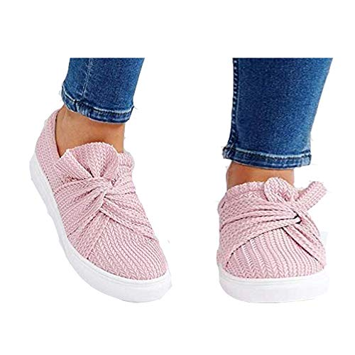 TnaIolral Ladies Shoes Solid Bowknot Summer Loafers Roman Cloth Sneakers (US:7.5, Pink)