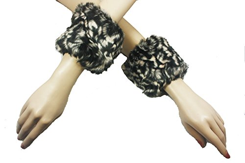 4square Women One Size White Black Cheeta Wrist Warmer Ankle Warmer