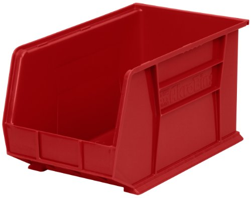 Akro-Mils 30260 Plastic Storage Stacking Hanging Akro Bin, 18-Inch by 11-Inch by 10-Inch, Red, Case of 6 by Akro-Mils