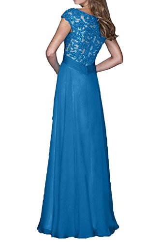 mit Brautmutterkleider Partykleider mia Ballkleider Langes Royal Blau Kurzarm Festlichkleider Abendkleider Spitze La Brau 4fSzzX