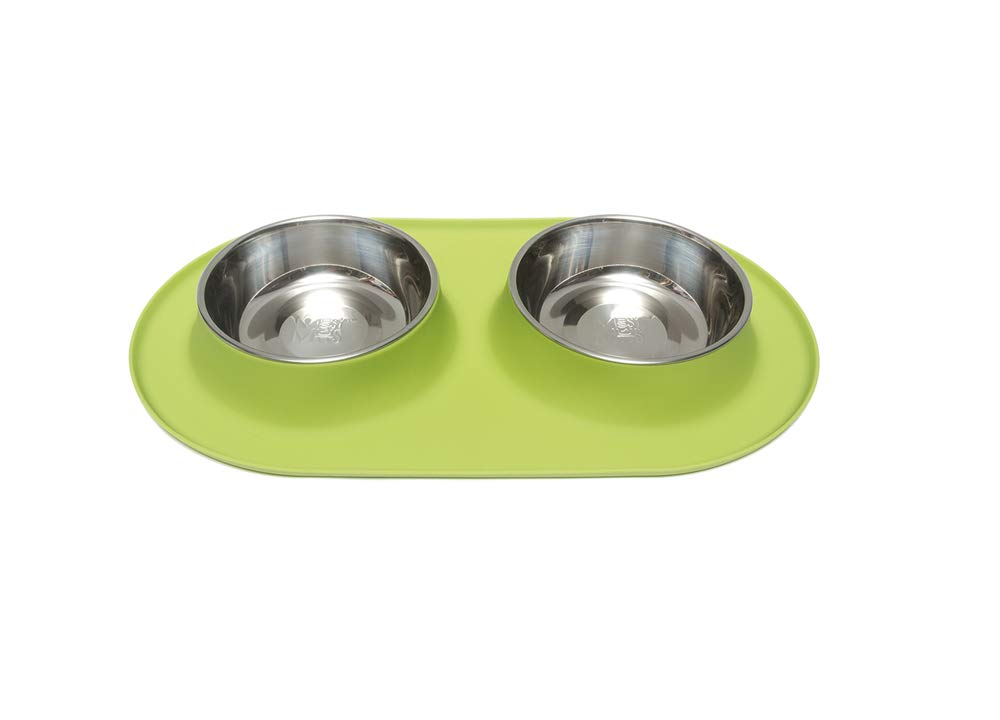 Green Large   3 Cups Per Bowl Green Large   3 Cups Per Bowl Messy Mutts Stainless Steel Double Dog Feeder with Non-Slip Silicone Base