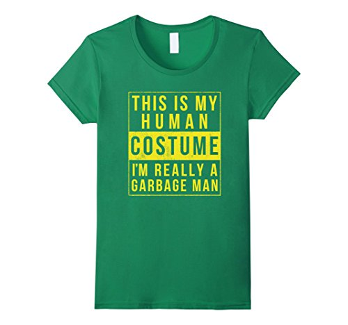 Womens Funny Garbage Truck Man Halloween Costume T Shirt Gift Small Kelly Green