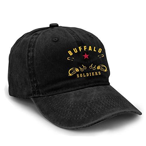 Yuliang Buffalo Soldiers Funny Unisex Adult Adjustable Snapback Cowboy Hat Black