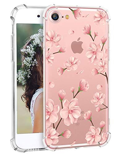 iPhone 7 Case iPhone 8 Case Hepix Pink Floral Pattern Plum Blossom iPhone Case Protective TPU Protector Bumper Back Cover Flexible Clear Soft Case for Apple iPhone 7 and iPhone 8 [4.7 inch]