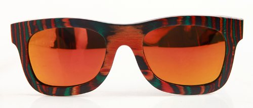 Skateboard Sunglasses,made From Recycled Maple ,Gold Lens Color,frame - Sunglasses Skateboard Recycled