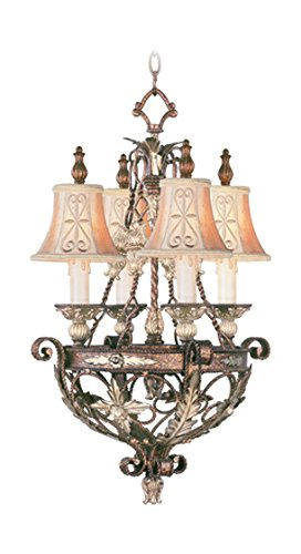 Palacial Bronze with Gilded Accents 4 Light 240W Chandelier with Candelabra Bulb Base and Hand Embroidered Shades/Decorative Finials Glass from Pamplona Series ()