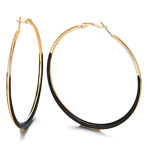 Fashionable Statement Earrings 64mm Gold Black Large Plain Circle Huggie Hinged Hoop, Party Dress