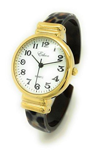 Ladies Stylish Acrylic Bangle Cuff Fashion Watch Round Case White Dial Eikon (Gold Leopard)