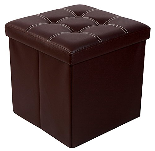 Premium BROWN Faux Leather Folding Ottoman Foot Rest Stool Seat Footrest  Shoe Storage Organizer Versatile Space-saving Bench - Cube 15