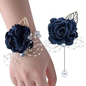 VEIDO Wrist Corsage Rose Flower Brooch for Wedding Party Prom Wristband Flower Set (Navy) 6