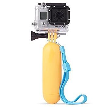 GotiTronics Palo de Mano Flotante para GoPro Hero 123 y SJCAM cámaras - incluye tornillo de mariposa y correa de muñeca. Flotador Amarillo, correa Azul: ...
