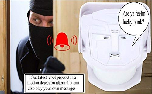 Wireless Infrared Motion Sensor. Scare off Porch Pirates Stores MP3 & WAV files that you load via included USB (up to 3.5 Mb), Welcome Guest Doorbell Sensor Talking Alarm Motion Detector Automatic Body Sensing with Alarm Remote Control -