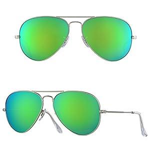 BNUS Corning natural glass Mirrored Lens Aviator Polarized Sunglasses Unisex Fashion (Frame: Matte Silver / Lens: Green Flash, Polarized)