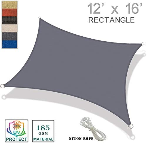 SUNNY GUARD 12 x 16 Charcoal Rectangle Sun Shade Sail UV Block for Outdoor Patio Garden