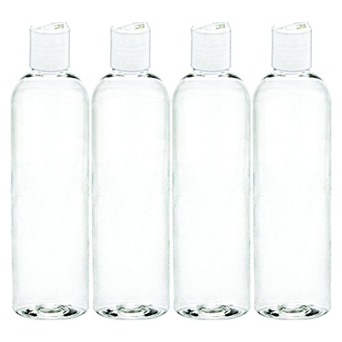 MoYo Natural Labs 4 oz Travel Bottles, Empty Travel Containers with Disc Caps, BPA Free PET Plastic Squeezable Toiletry/Cosmetic Bottle (Neck 20-410) (Pack of 4, Clear)