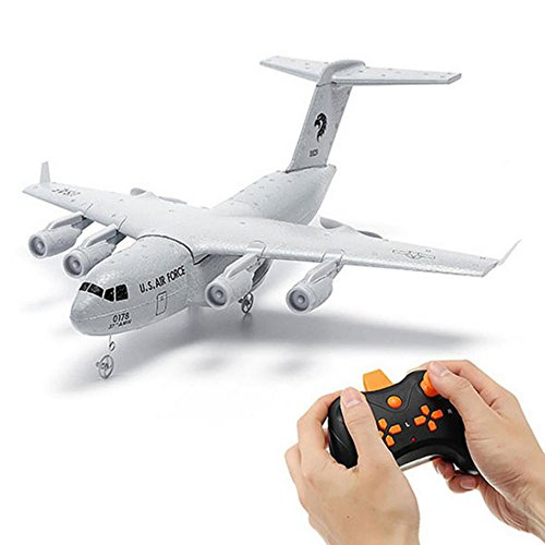 RC Airplane -RTF 2.4Ghz C-17 Remote Control Aircraft for Indoor/Outdoor Building In ESC 3 Axis Gyroscope, Super Easy to Fly