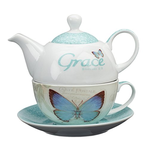 Botanic Butterfly Blessings''Grace'' Tea-for-One Set by Christian Art Gifts