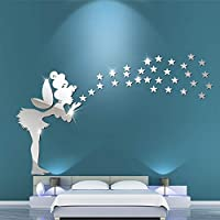 Silver Cute Little Fairy Stars Acrylic Wall Stickers, 3D Mirror Modern DIY Wall Stickers for Kids Room Bedroom Kindergarten Wall Decals Stickers Wallpaper Home Decoration Removable