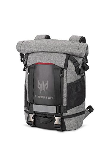 Acer Predator Rolltop Rucksack (Gaming-Rucksack, wasserdicht, 35,5 Liter Fassungsvermögen, kompatibel mit allen 15 Zoll und 17 Zoll Geräten) grau/schwarz/rot