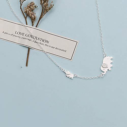 Davitu 925 Sterling Silver Cute Elephant Design Fashion Charming Chain for Women Necklace Choker Necklaces /& Pendants VNS8366