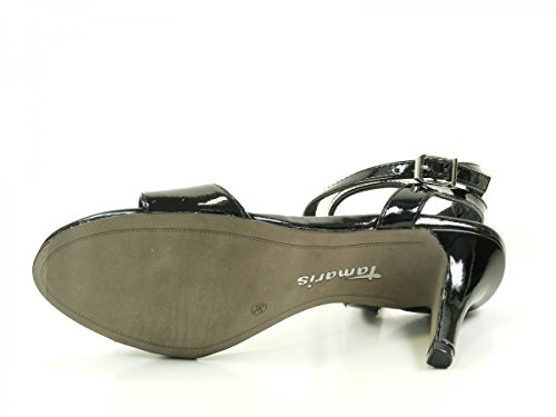 Tamaris 1-28345-36 Damen Lack Sandalen Sandaletten, Schuhgröße:40;Farbe:Schwarz