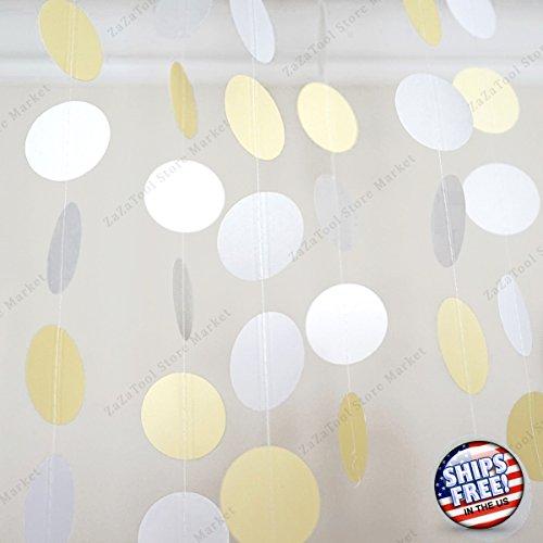 ZaZaTool - 10 Ft Yellow White Grey Circle Dots Paper Garland Party Home Decor Banner