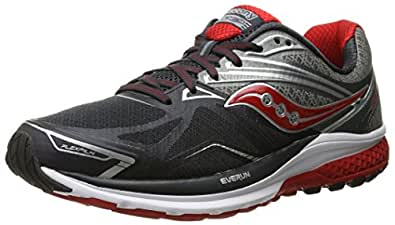 Saucony Men's Ride 9 Running Shoe, Grey/Charcoal/Red, 7 W US