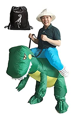 LUCKYSUN Adult T-Rex Dinosaur Inflatable Costume Suit Packed With Exclusive Drawstring Bag …