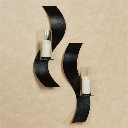 Touch Of Class Metal Rhythmic Wall Sconces Black Set of Two