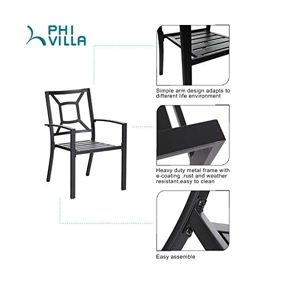 "PHI VILLA 5 Piece Outdoor Patio Dining Set, Square Metal Slatted Table with 1.57"" Umbrella Hole & 4 Metal Chairs for… - 1 METAL TABLE - Metal dining table with thick slat metal tabletop, rust and weather resistant. Powder-coated wood like finish, can be easily cleaned up with damp cloth and water. Skid resistant feet for uneven ground and against floor scratching. Dimensions: 37""L x 37""W x 28""H. 4 METAL PATIO CHAIRS - Made of lightweight steel with exquisite black e-coating, more stable and sturdy, supports 300 lbs. The height of backrest and seat is ergonomically designed, spacious and comfortable for six people family dinner and party. Also can be stacked for easy storage. ELEGANT DESIGN - The 5 piece outdoor dining table set beautifully transforms any backyard, porch, balcony or deck into an elegant dining area with its superior quality & deep comfort feel. Match any decor and suitable for outdoor and indoor use. - patio-furniture, dining-sets-patio-funiture, patio - 41OzvpjRIPL. SS570  -"
