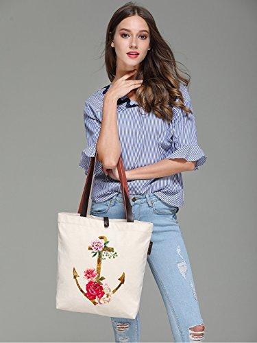 So'each Women's Flower Anchor Graphic Canvas Handbag Tote Shoulder Bag