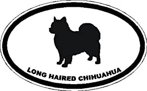 """6"""" Long Haired Chihuahua euro oval Magnet for Auto Car Refrigerator or any metal surface."""