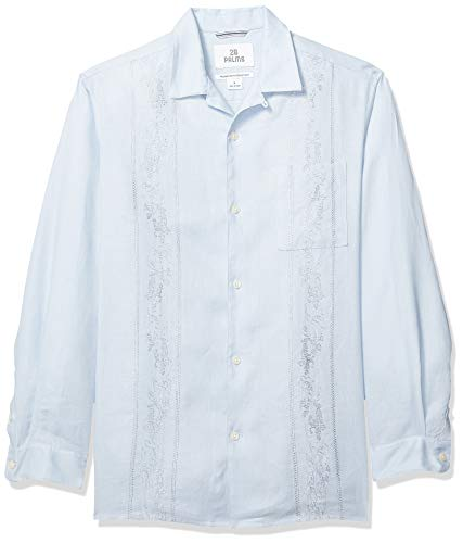 (28 Palms Men's Relaxed-Fit Long-Sleeve 100% Linen Embroidered Guayabera Shirt, Light Blue, X-Large)