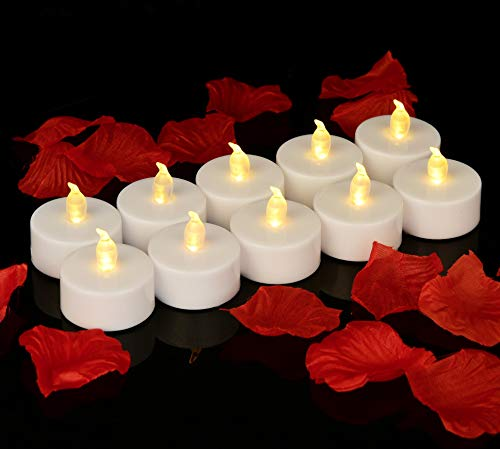 Flameless LED Tea Lights Candles (50 Tea Lights 1000 PCS Faux Petals), Flickering Warm Yellow. 100 Hours Battery Tealight. Ideal Party, Wedding, Birthday, Gifts Home Decoration