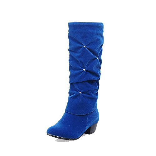 Low on Imitated Heels Suede Blue Solid Boots High Pull Women's top WeiPoot tEwqgFF