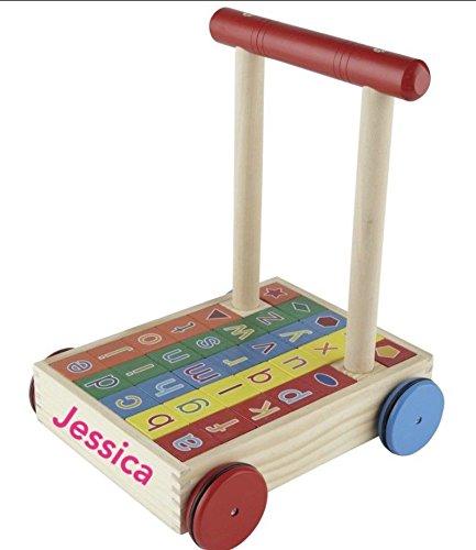wooden personalised brick cart baby walker