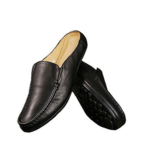 Santimon Heren Muiltjes Sloffen Klompjes Klassieke Leren Instapschoenen Vrijetijdsschoenen Loafers Zwart