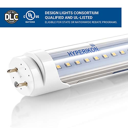 Hyperikon T8 T10 T12 LED Light Tube 4FT, 18W (40W-50W Equiv.), Dual-End Powered, Ballast Bypass, F48T8 Fluorescent Replacement, 2340 Lumens, 5000K, Clear, Garage, Warehouse, Shop Light - 4 Pack by Hyperikon (Image #4)