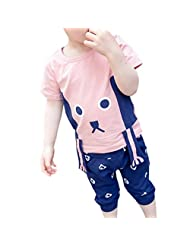 Lymnshi Baby Boys Girls Cute Bear Short Sleeve T-shirt Short Pants 2 Pcs Sets